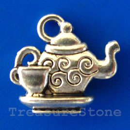 Pendant/charm, silver-finished,13x15mm teapot. Pkg of 8.