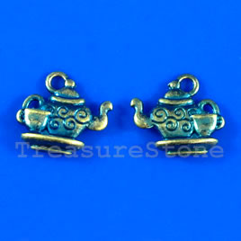 Pendant/charm, blue-finished,13x15mm tea pot. Pkg of 6.