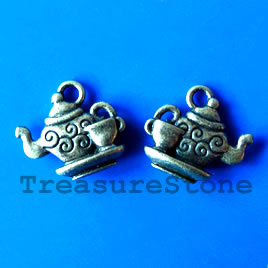 Pendant/charm, brass-finished, 13x15mm tea pot. Pkg of 8.