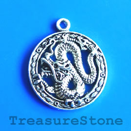 Charm/Pendant, silver-plated, 23mm Dragon. Pack of 4.