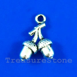 Pendant/charm, silver-finished, 13mm acorn. Pkg of 10.