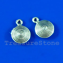 Charm, silver-finished, 8mm swirl disk. Pkg of 15.