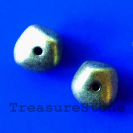 Bead, antiqued brass finished, 7x9mm. Pkg of 14.