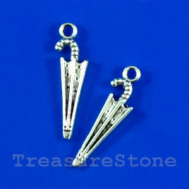 Pendant/charm, silver-finished,7x22mm umbrella. Pkg of 15.