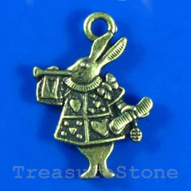 Pendant/charm, silver-finished,14x18mm bunny. Pkg of 12.