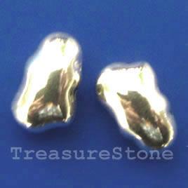 Bead, silver-finished, 7x13mm. Pkg of 12.