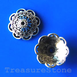 Bead cap, antiqued silver-finished, 16mm. Pkg of 6
