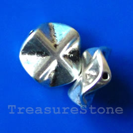 Bead, antiqued silver-finished, 13x4mm. Pkg of 10.