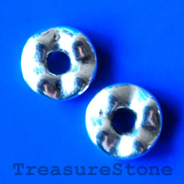 Bead, silver-finished, 13mm. Pkg of 6.