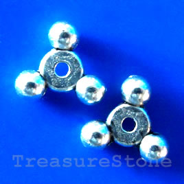 Bead, antiqued silver-finished, 10x12x3mm. Pkg of 15.