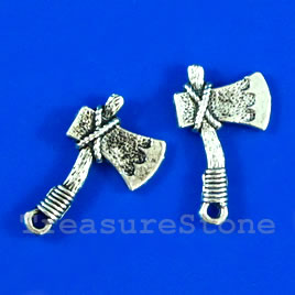 Pendant/charm, silver-finished, 14x20mm axe. Pkg of 9.