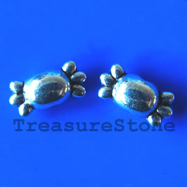 Bead, silver-finished, 5x12mm. Pkg of 15.