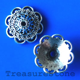 Bead cap, antiqued silver-finished, 14mm. pkg of 10.