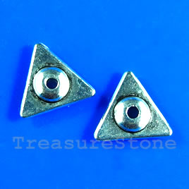Bead, antiqued silver-finished, 11mm triangle. Pkg of 15