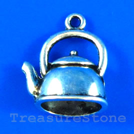 Pendant/charm, silver-finished,10x16mm kettle. Pkg of 6.