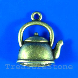 Pendant/charm, brass-finished,16x10mm kettle. Pkg of 6.