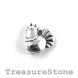 Charm/Pendant, silver-colored, 13mm rooster. Pack of 10.