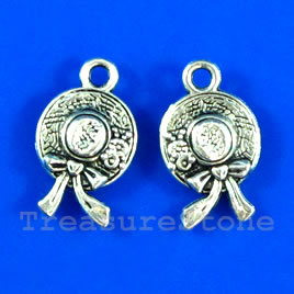 Pendant/charm, silver-finished,10x14mm hat. Pkg of 14.