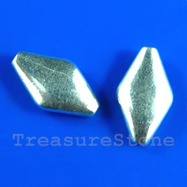 Bead, silver-finished, 9x14mm. Pkg of 10.