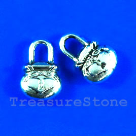 Pendant/charm, silver-finished, 9x14mm purse. pkg of 9.