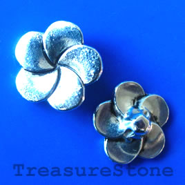 Bead,antiqued silver-finished, 14x5mm flower button. Pkg of 8.