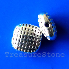 Bead, antiqued silver-finished, 10x5mm. Pkg of 9