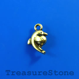 Charm, gold-finished, 10x12mm dolphin. Pkg of 14.