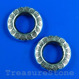 Bead frame, antiqued silver-finished, 19mm. Pkg of 5.