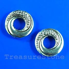Bead, antiqued silver-finished, 14mm. Pkg of 8.