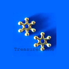 Bead, antiqued gold-finished, 12mm daisy. Pkg of 18.
