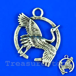 Pendant/charm, silver-finished, 22mm bird. Pkg of 5.