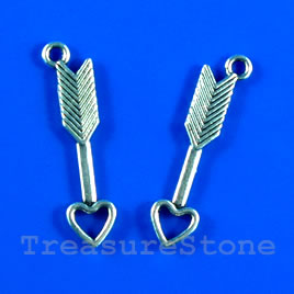 Pendant/charm, 28mm arrow with heart head. Pkg of 10.