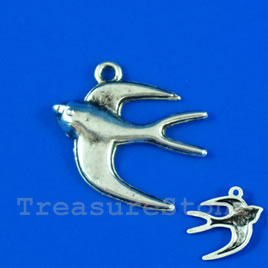 Pendant/charm, silver-finished, 20x22mm bird. Pkg of 9.