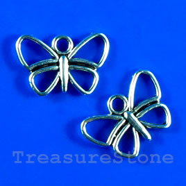 Pendant/charm, 11x17mm butterfly. Pkg of 12.