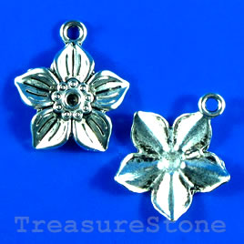 Pendant/charm, silver-finished, 19mm flower. Pkg of 10.