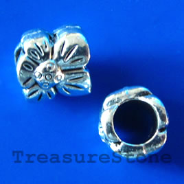 Bead, antiqued silver-finished, large hole, 8mm. Pkg of 10.