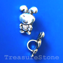 Bead, silver-finished, 10x15mm rabbit. Pkg of 12.