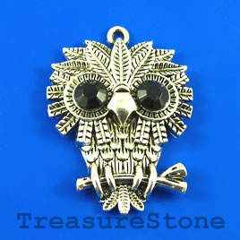 Pendant, silver-finished, 33x40mm owl. Pkg of 2.