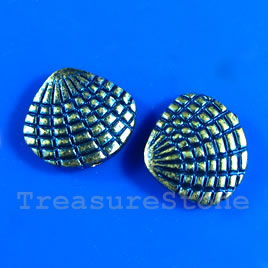 Bead, blue finished, 12x13mm shell. Pkg of 6.