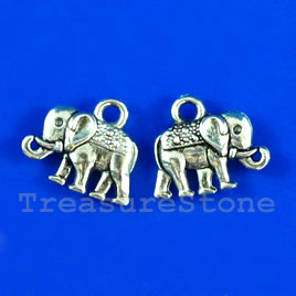 Pendant/charm, silver-finished, 9x14mm elephant. Pkg of 12.