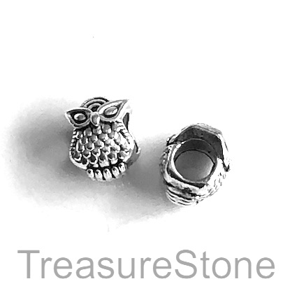 Bead, antiqued silver-finished,large hole, 8x10mm owl. Pkg of 8.