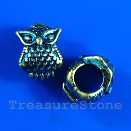 Bead, antiqued blue-finished, 8x10mm owl. Pkg of 8.