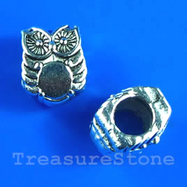 Bead, silver-finished, 8x10mm owl. Pkg of 10.