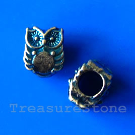 Bead, blue-finished, 8x10mm owl. Pkg of 8.