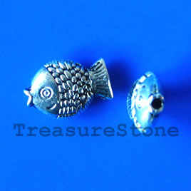 Bead, antiqued silver-finished, 8x12mm fish. Pkg of 15.