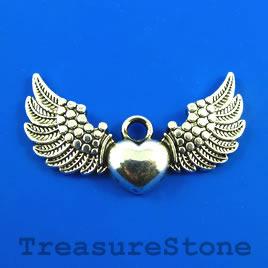Pendant, 28x45mm angel wings. Pkg of 3.