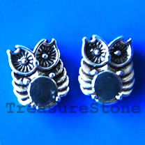 Bead, antiqued silver-finished, 8x10x3mm owl. Pkg of 15.
