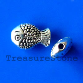 Bead, antiqued silver-finished, 7x10mm fish. Pkg of 20.
