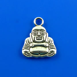 Charm, silver-finished, 16x17mm buddha. Pkg of 5.