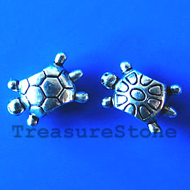 Bead, antiqued silver-finished, 8x13mm turtle. Pkg of 15.